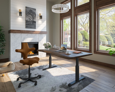 The HÅG Capisco is the perfect addition to any work space but looks gorgeous and chic in this home office.