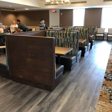Beautiful booth seating provided by Randy's Booth Co. Inc. for the Homestead at Hamilton senior living community in Homestead, New Jersey.