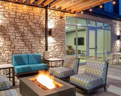 A spacious patio with an inviting design at Homewood Suite located in Chaska, Minnesota. Nelson-Rudie provided structural design services for the project.