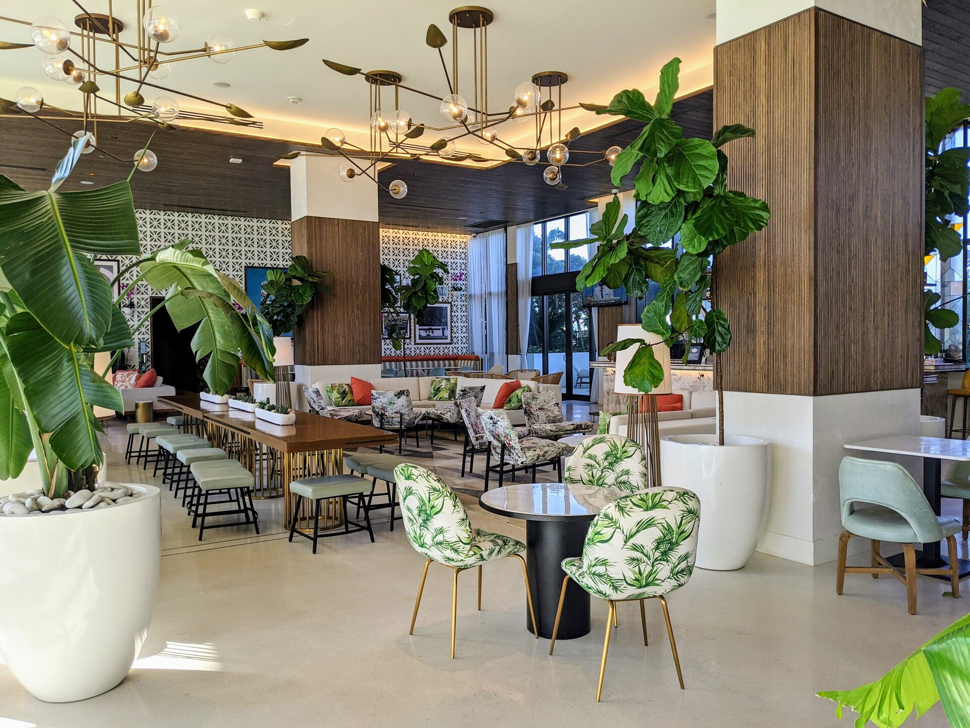 DesignAgency and Surfacing Solution partnered on this hotel lobby design for The Dalmar Hotel in Fort Lauderdale, Florida.  Solid wood tambour was used as accent pieces on the columns in the lounge.