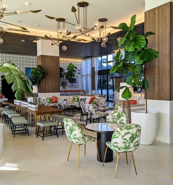 DesignAgency and Surfacing Solution partnered on this hotel lobby design for The Dalmar Hotel in Fort Lauderdale, Florida.