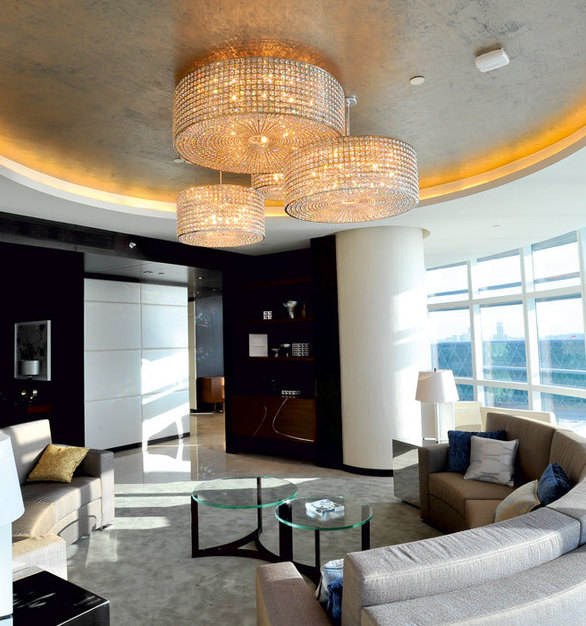 This Elegant Chandelier by Swarovski Lighting is located in the Presidential Suite at the Rosewood Hotel.
