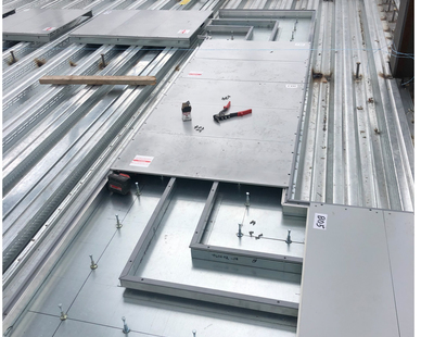 Cordeck In Floor Cellular Raceway System being installed at Hub Group Headquarters.