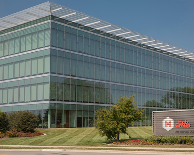 Cordeck Innovative Floor Solutions® Phase I of Hub Group Headquarters took place in 2012.   Cordeck supplied the complete floor system on the 4-story building, which consisted of N-R-G-FLOR® In Floor Cellular Raceway System, composite deck, roof deck, and flashings.  The painted metal deck is used as a finished ceiling on each level, complementing the exposed steel column and beam design.  Phase II started in the later half of 2019.
