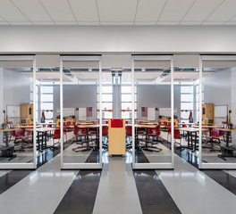 Hufcor GF Series Low Profile Acoustical Glass Wall InVista Princeton Middle School