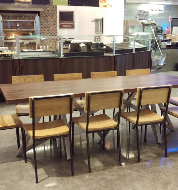 i2i Design customized a walnut community table for a Mariano's grocery store.