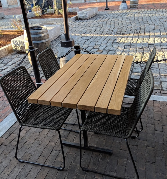Outdoor White Oak slat table, by i2i Designs.