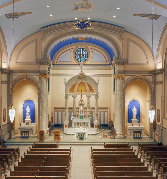 The updated lighting fixtures at Immaculate Conception in Charles City, Iowa, breathes new life in the Sanctuary.