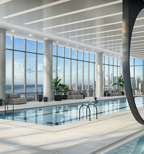 The Hudson Yards residences showcases one of the most beautiful indoor pools with a view in all of Manhattan. Infinity Drain used their linear drains for the pool area.