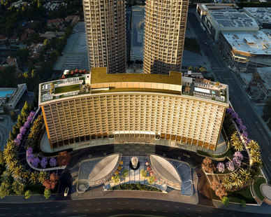 The Century Plaza Hotel is a luxury staple in Century City, Los Angeles. Recent renovations took place in 2016 to update the original 1960s built hotel.