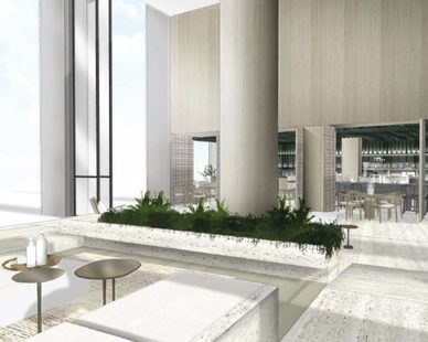 Seen here is a rendering of the bar and lounge area within the updated Century Plaza Hotel.