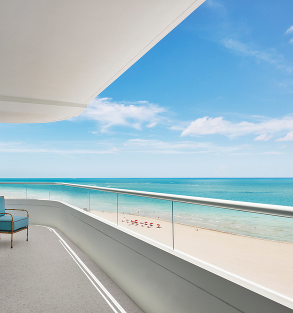 Balcony at the Faena Hotel Miami Beach with a gorgeous beach view.