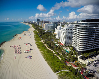 Aerial view of Miami Beach and the Faena Hotel.