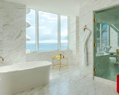 Bathrooms at the Faena Hotel in Miami Beach are incredibly spacious and luxurious.