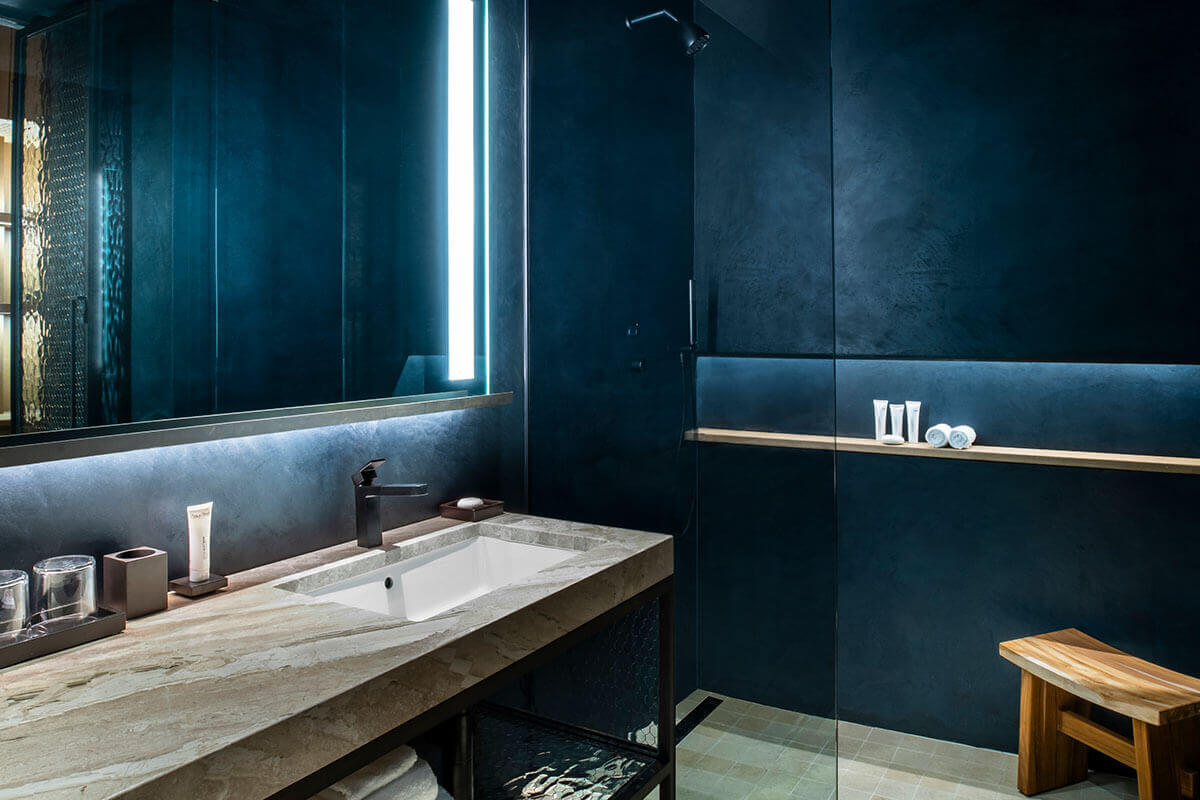 Stunning luxury bathrooms can be found in the rooms at Nobu Hotel Chicago.