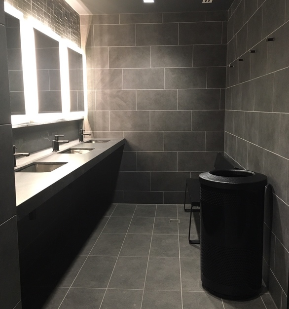 Simple and clean bathrooms can be found at the Rocket Mortgage Fieldhouse in Cleveland, Ohio.