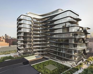 Exterior view along with landscaping at 520 West 28th Condos designed by Zaha Hadid.