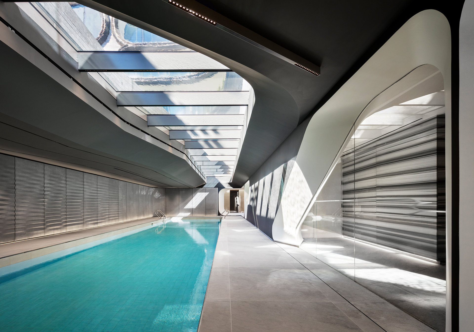 One of a kind pool, showcasing Infinity Drain, at 520 West 28th condos.