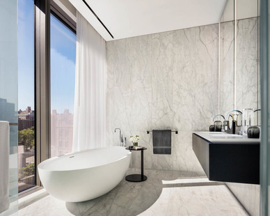 Gorgeous, luxurious bathroom at the 520 West 28th. Drains completed by Infinity Drain.