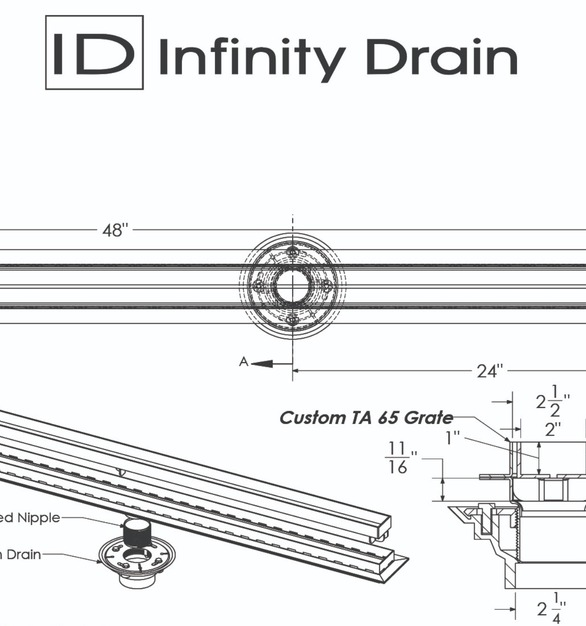 Custom TA 65 Grate - Infinity Drain