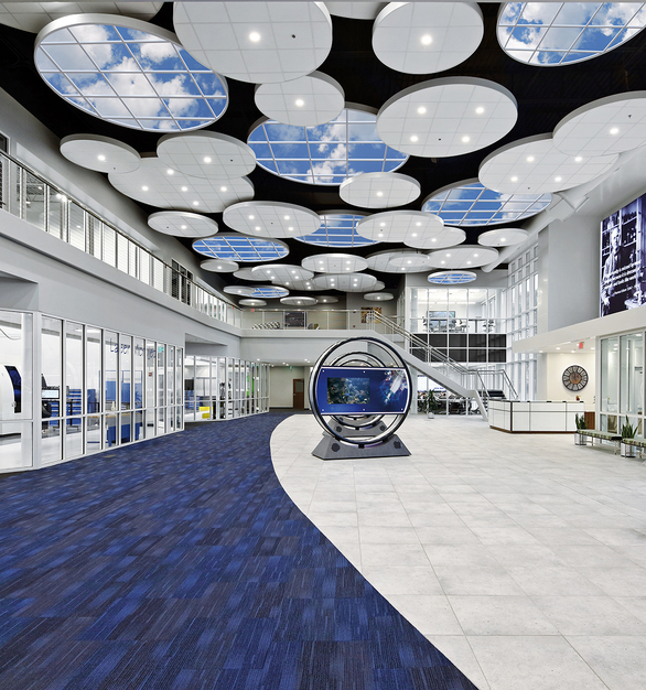 INFINITY SkyCeilings enliven large commercial interiors with relaxing views to the sky that enhance occupant wellness.
