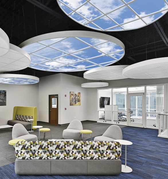 INFINITY SkyCeilings provide a relaxing visual complement in public spaces like lounges and cafeterias with exposed ceilings.