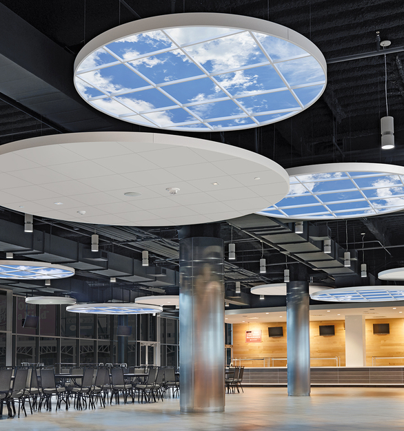 INFINITY SkyCeilings are easy to install in exposed ceiling spaces. They are versatile and enhance any public environment by providing an attractive line of sight.