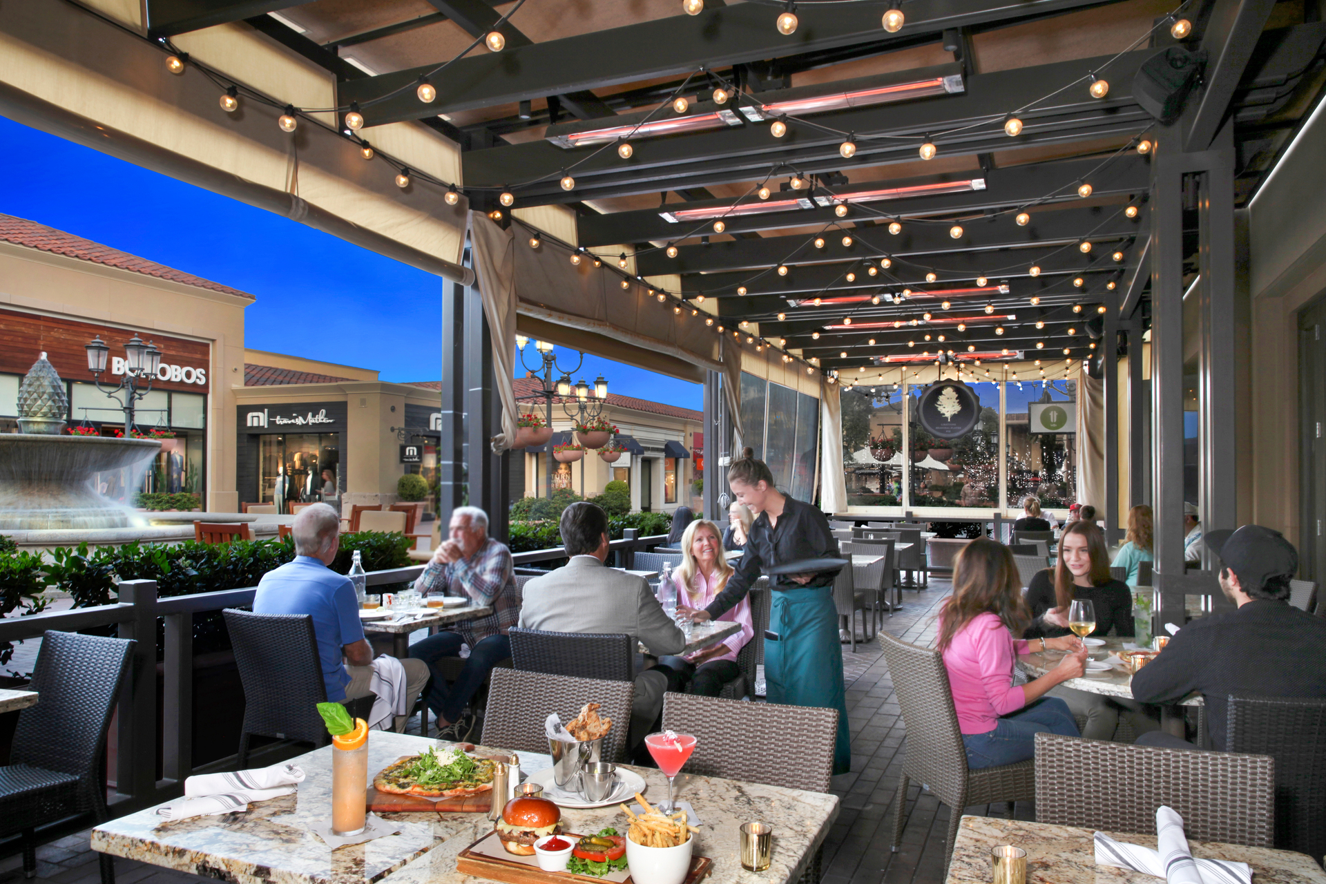 Great Maple Restaurant in Fashion Island, Newport Beach features ceiling-mounted W-Series heaters to make the most of their outdoor seating area, year-round.