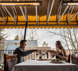 Infratech Slim Line Outdoor Restaurant Heaters Grappa Restaurant Park City Utah Visitor and Guest Eating Area