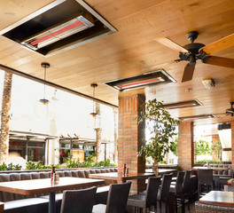 Infratech Wood Ranch Outdoor Patio Dining Area Ceiling Heating System