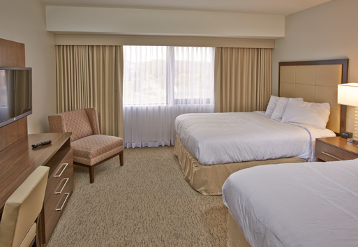 Beautiful bedroom at the Embassy Suites in Waukesha, Wisconsin. Embassy Suites used a variety of Inpro Corporation products to complete this project.