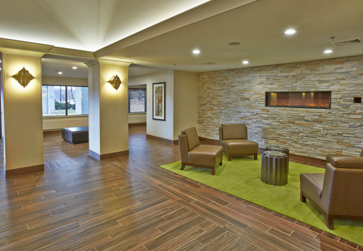 Beautiful lounge at the Embassy Suites in Waukesha, Wisconsin. Embassy Suites used a variety of Inpro Corporation products to complete this project.