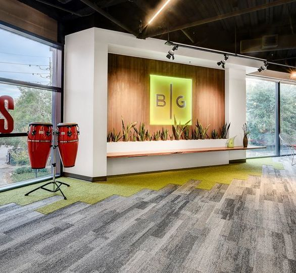 Interface flooring can be found throughout the Brunet Garcia Headquarters designed by Hota Design in Jacksonville, FL