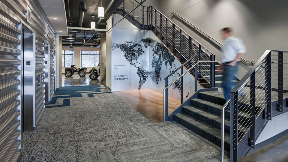Polaris Industries in Plymouth, MN, designed by NELSON Online  Photo Credit: Paul Crosby