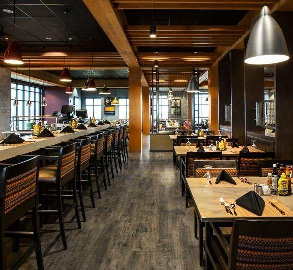 Interface Summit Vista Level Set Collection Texturized Woodgrain LVT Restaurant Flooring