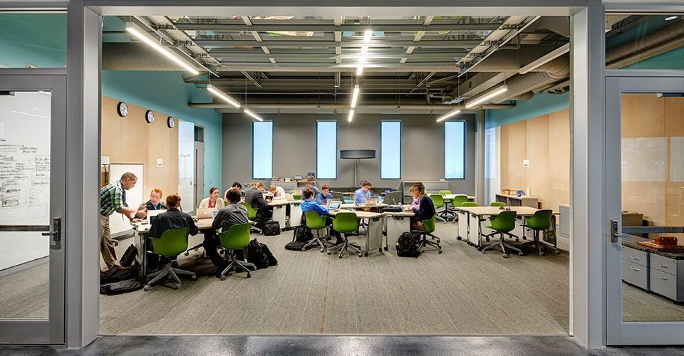Classrooms at the Waukee Innovation and Learning Center in Waukee, Iowa, feature Interface carpet tiles.