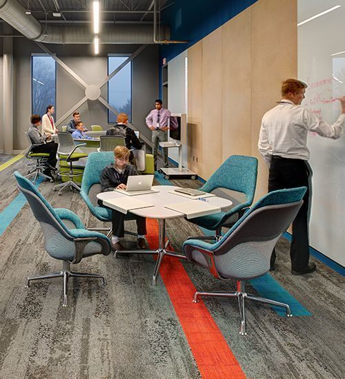 Classrooms and common meeting area at the Waukee Innovation and Learning Center in Waukee, Iowa, feature Interface carpet tiles.