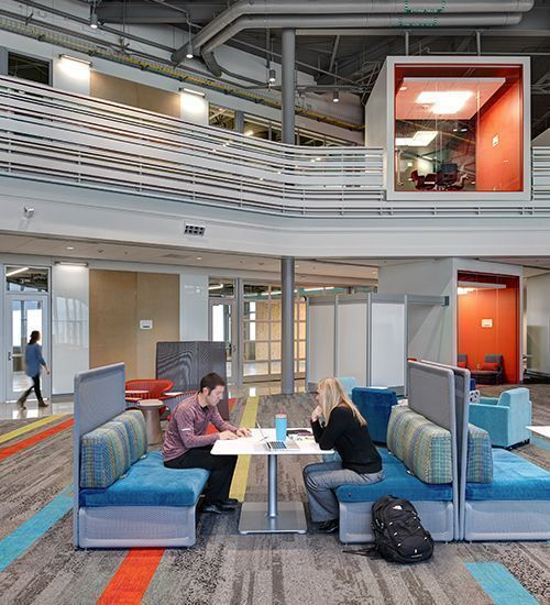 Large commons area at the Waukee Innovation and Learning Center in Waukee, Iowa, feature Interface carpet tiles.