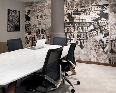 Newly designed conference room located at International Market Square. Designed by InUnison Design.