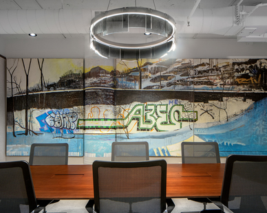 Beautifully designed conference room at the Eagle Ridge Partners office located at International Market Square in Minneapolis, Minnesota.