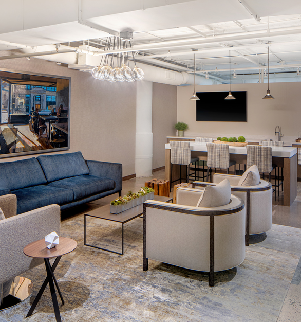 Newly designed management lounge at International Market Square in Minneapolis, Minneapolis designed by InUnison Design.
