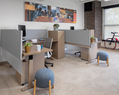 Open work stations can be found within the Eagle Ridge Partners Office, designed by InUnison Design.