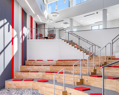 Light-filled atrium addition where students, teachers and visitors activate into vital educational space.