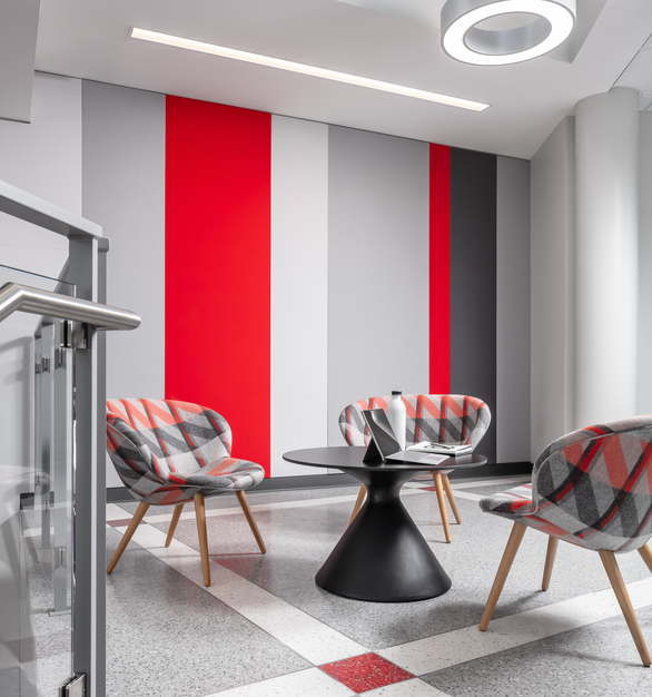 Study and lounge area for students and faculty to use during school hours and events. Gorgeous furniture from Hightower and sourced through Fuse. Chair fabric from Camira, striped acoustical wall by Acoustic Associates and flooring by Grazzini Brothers and Company.