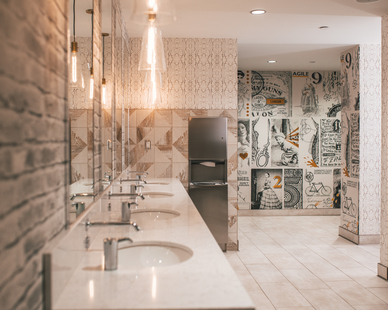 Eclectic is a word that perfectly describes the interior of this restroom.