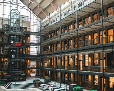 Multi-level and thoughtfully designed interior of IMS in Minneapolis, Minnesota.