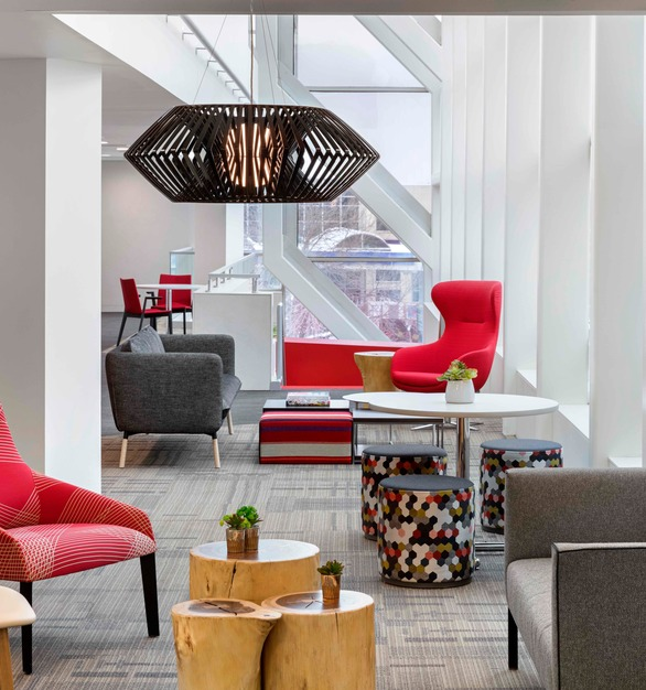 Lounge and common space at 1200 Washington in Minneapolis, Minnesota. Various furniture was sourced through Fuse.