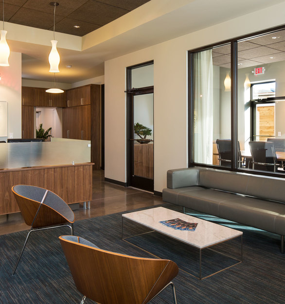 Spacious Reception and Waiting Area developed by InUnison Design at the Matonich Law Office.