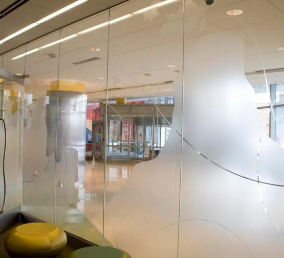InVision Glass Design provided laser etched graphics on glass around the patient library and parent resource rooms. This project was completed at the University of Minnesota Children's Hospital in Minneapolis, Minnesota, by InVision Glass Design.
