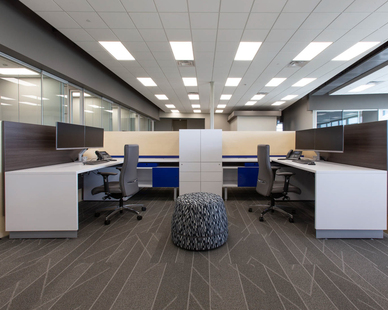 The iSpace Environments team already knew Blue Star Power Systems well when the plans for the new facility were forming. Partnering with the family ownership team, ISG and RW Carlstrom, iSpace identified furnishings, architectural products and workplace technologies that supported Blue Star Power Systems' work styles, and helped to create a space where their employees would love to work.